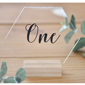 Acrylic Clear Hexagon Table Number with Wooden BaseFlorals For Less cheap artificial fake flowers online