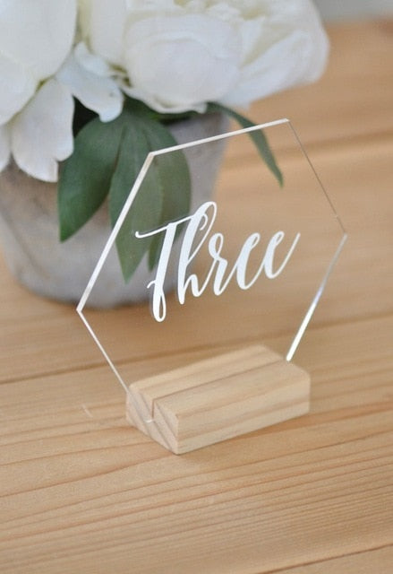 Acrylic Clear Hexagon Table Number with Wooden BaseWhite / Number 1-40Florals For Less cheap artificial fake flowers online