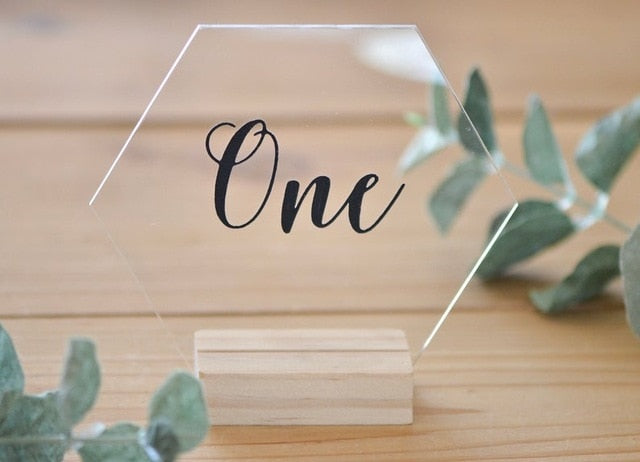 Acrylic Clear Hexagon Table Number with Wooden BaseBlack / Number 1-40Florals For Less cheap artificial fake flowers online