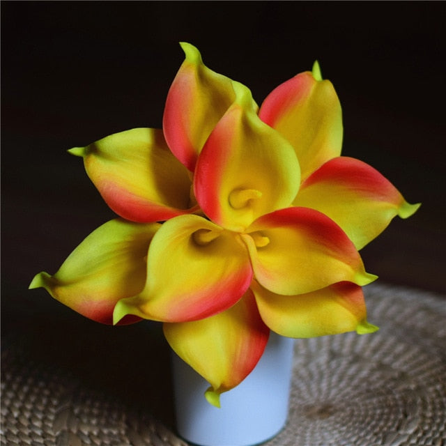 Artificial Calla Lily BouquetYellow-OrangeFlorals For Less cheap artificial fake flowers online