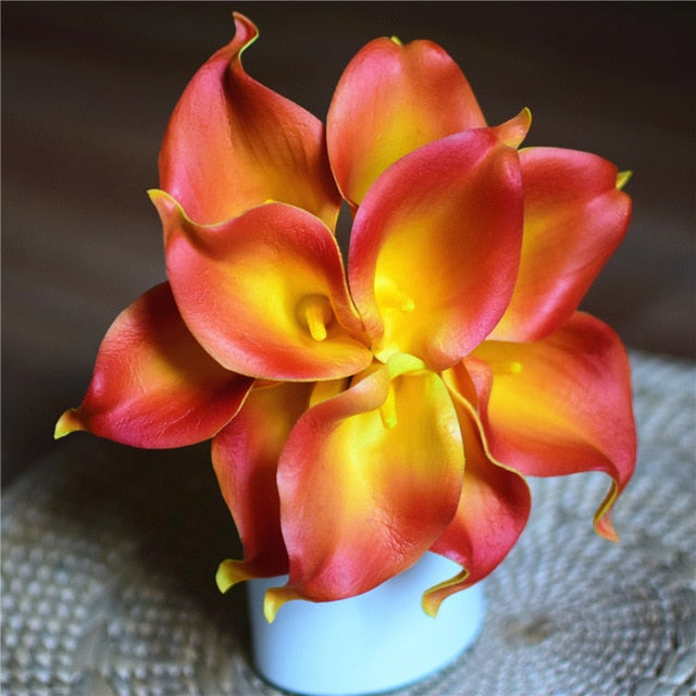 Artificial Calla Lily BouquetDark Orange and YellowFlorals For Less cheap artificial fake flowers online