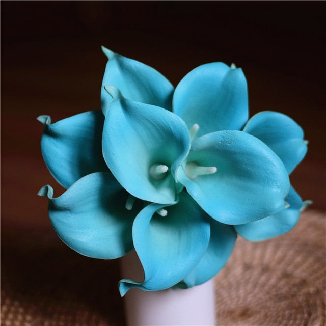 Artificial Calla Lily BouquetTiffany Blue and Green CenterFlorals For Less cheap artificial fake flowers online