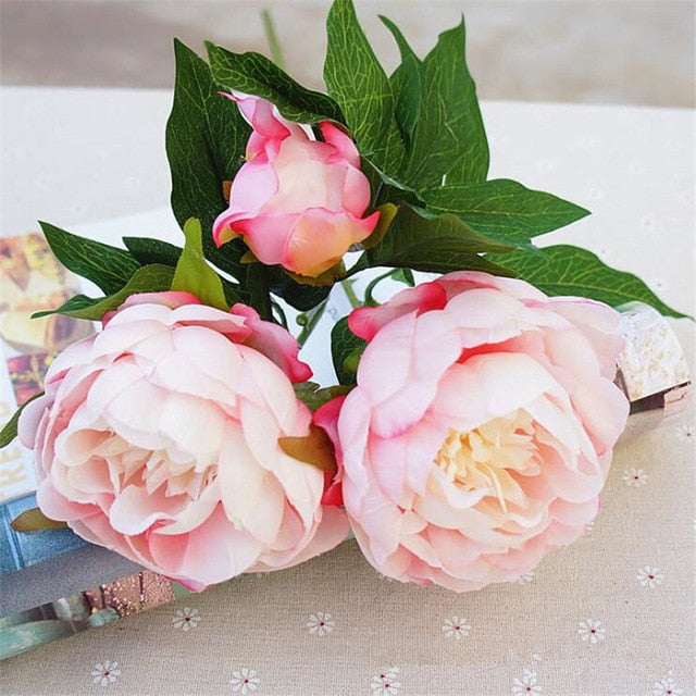 Silk Artificial Peony SprayPinkFlorals For Less cheap artificial fake flowers online