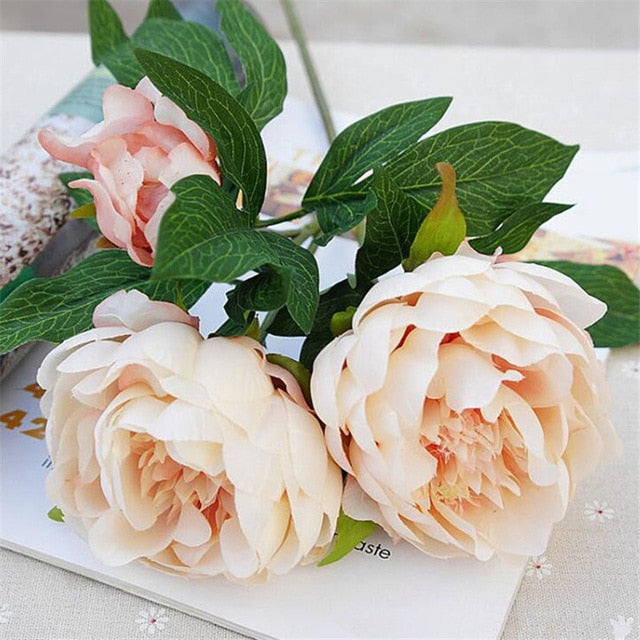 Silk Artificial Peony SprayChampagneFlorals For Less cheap artificial fake flowers online