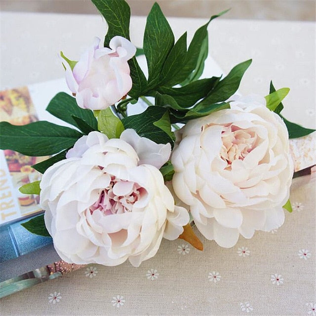 Silk Artificial Peony SprayIvory/Hint of Lavendar CentreFlorals For Less cheap artificial fake flowers online