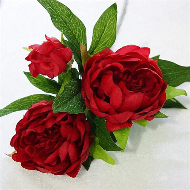 Silk Artificial Peony SprayRedFlorals For Less cheap artificial fake flowers online