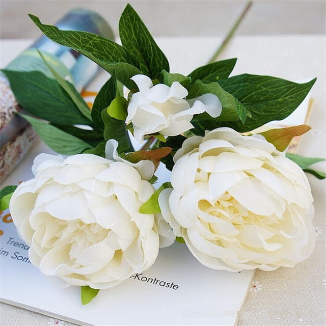 Silk Artificial Peony SprayIvoryFlorals For Less cheap artificial fake flowers online