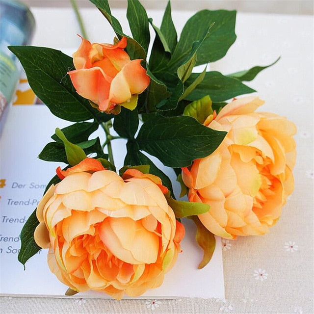 Silk Artificial Peony SprayTangerineFlorals For Less cheap artificial fake flowers online