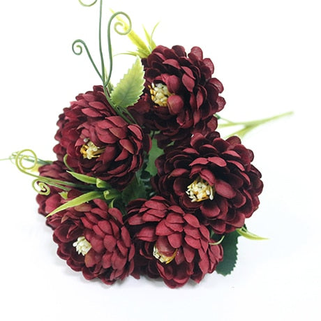 Small Chrysanthemum SprayBurgundyFlorals For Less cheap artificial fake flowers online