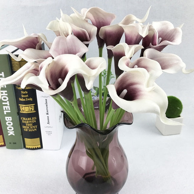 Artificial Calla LiliesWhite/PurpleFlorals For Less cheap artificial fake flowers online