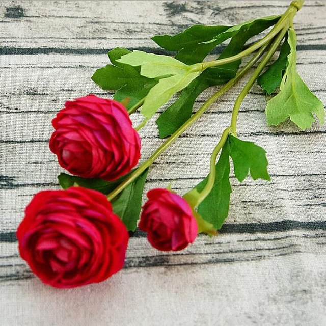 Artificial Ranunculus SprayRed/BurgundyFlorals For Less cheap artificial fake flowers online