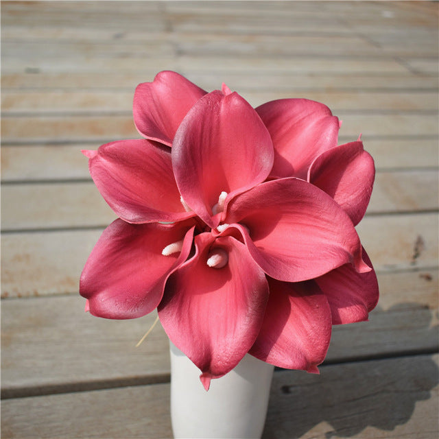 Artificial Calla Lily BouquetPink and BrownFlorals For Less cheap artificial fake flowers online
