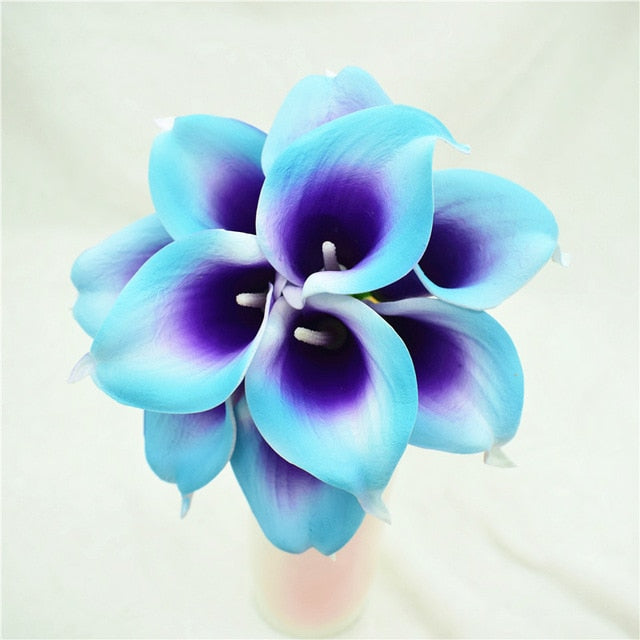 Artificial Calla Lily BouquetTurquoise PurpleFlorals For Less cheap artificial fake flowers online