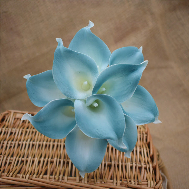 Artificial Calla Lily BouquetLight TurquoiseFlorals For Less cheap artificial fake flowers online