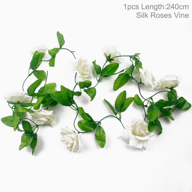 Artificial Rose GarlandWhite 240cmFlorals For Less cheap artificial fake flowers online