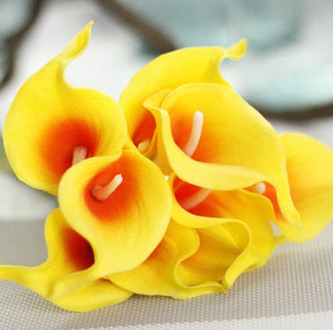 Artificial Calla Lily BouquetYellow Orange CenterFlorals For Less cheap artificial fake flowers online