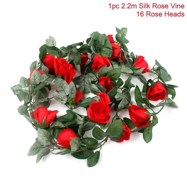 Artificial Rose GarlandRed Rosevine 220cmFlorals For Less cheap artificial fake flowers online