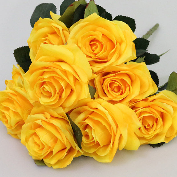 yellow artificial roses