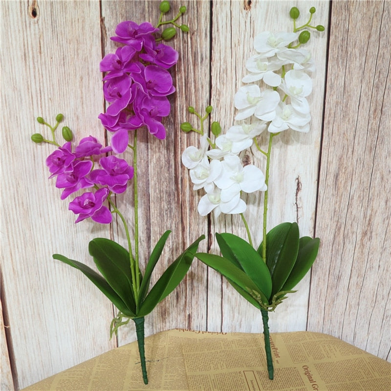 Real Touch Latex Orchid Flowers with LeavesFlorals For Less cheap artificial fake flowers online