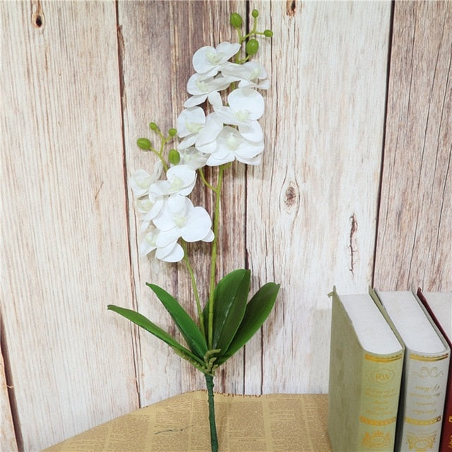 Real Touch Latex Orchid Flowers with LeavesWhiteFlorals For Less cheap artificial fake flowers online