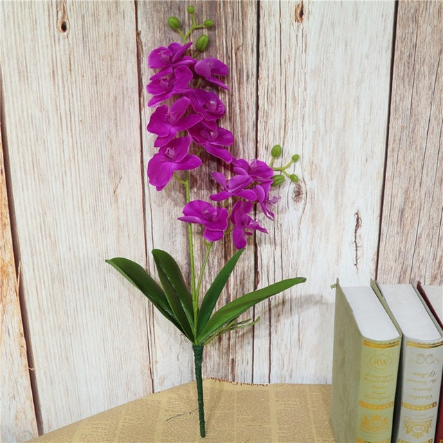 Real Touch Latex Orchid Flowers with LeavesPurpleFlorals For Less cheap artificial fake flowers online