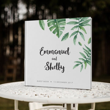 Personalized Tropical Leaf White Wedding Guest BookFlorals For Less cheap artificial fake flowers online