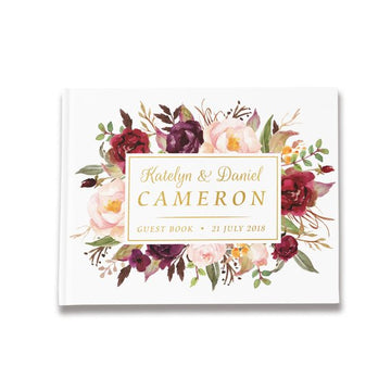 Custom Burgundy Floral White Wedding Guest BookFlorals For Less cheap artificial fake flowers online