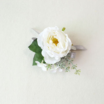 Boutonnieres Silk Roses White Pink Wedding CorsagesD Wrist FlowerFlorals For Less cheap artificial fake flowers online