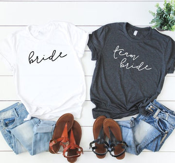 Bachelorette Party T-Shirts - Simple Cursive, Team BrideFlorals For Less cheap artificial fake flowers online