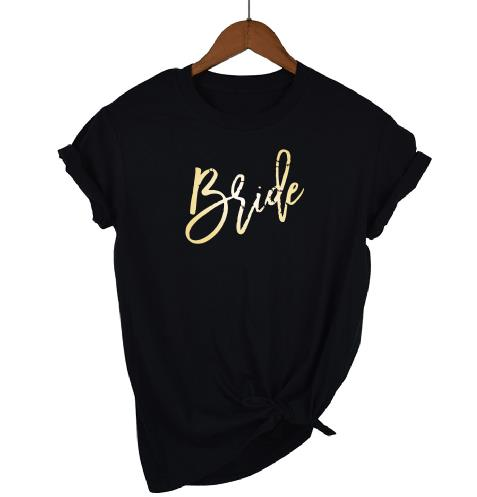 Gold Print Bridal Party T-ShirtsBlack / XXXL / BrideFlorals For Less cheap artificial fake flowers online