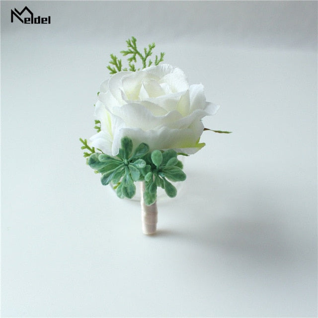 Hand Made Boutonnieres - White and GreensBoutonniere AFlorals For Less cheap artificial fake flowers online