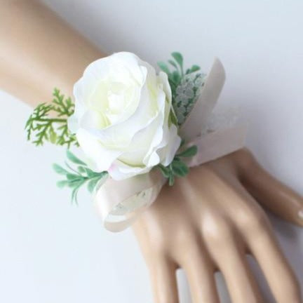 Hand Made Boutonnieres - White and GreensCorsage AFlorals For Less cheap artificial fake flowers online