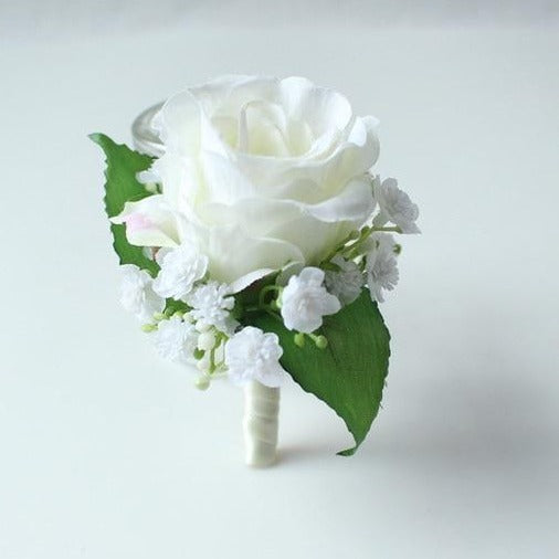 Hand Made Boutonnieres - White and GreensBoutonniere BFlorals For Less cheap artificial fake flowers online