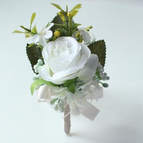 Hand Made Boutonnieres - White and GreensBoutonniere CFlorals For Less cheap artificial fake flowers online
