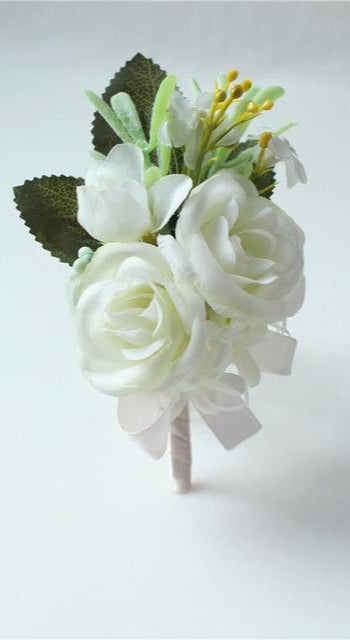 Hand Made Boutonnieres - White and GreensBoutonniere DFlorals For Less cheap artificial fake flowers online