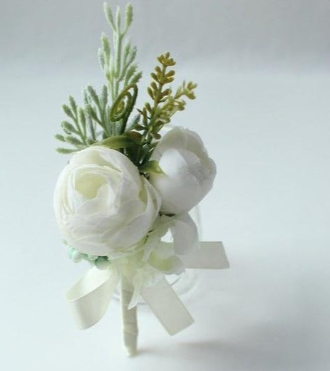 Hand Made Boutonnieres - White and GreensBoutonniere EFlorals For Less cheap artificial fake flowers online