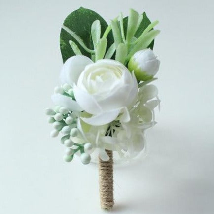Hand Made Boutonnieres - White and GreensBoutonniere F - BurlapFlorals For Less cheap artificial fake flowers online