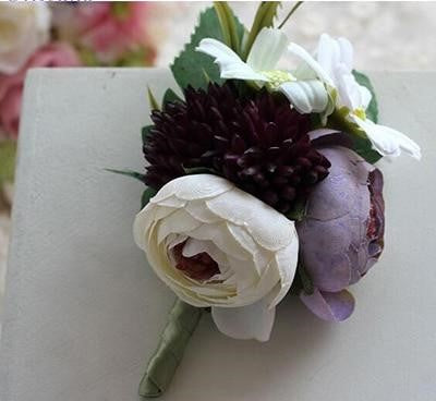 Handmade Tea Rose Silk Wrist Corsages and BoutonnieresPurple Plum BoutonierreFlorals For Less cheap artificial fake flowers online