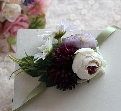 Handmade Tea Rose Silk Wrist Corsages and BoutonnieresPurple Plum CorsageFlorals For Less cheap artificial fake flowers online