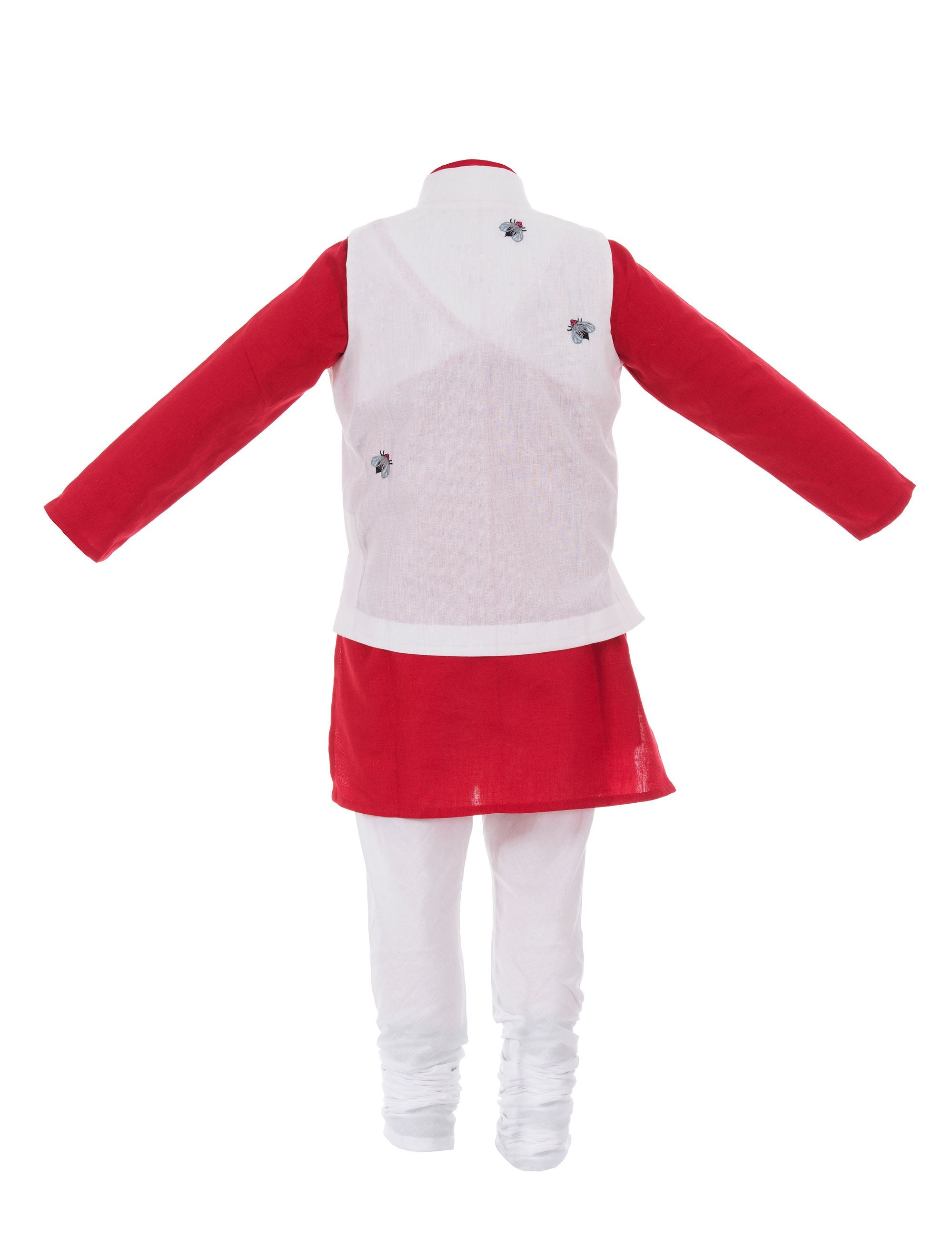Kurta/Bug Jacket N Red and White Colour for Boys
