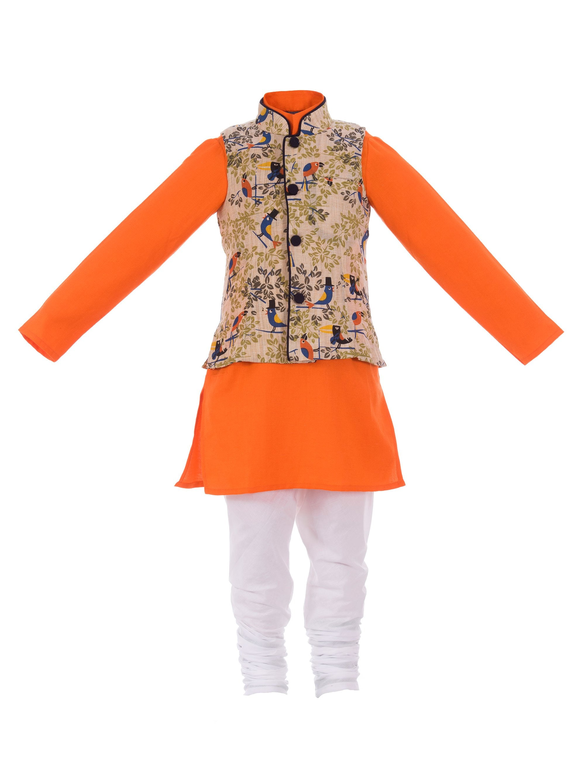 Khadi Kurta with Bird Print Nehru Jacket in Orange Colour for Boys