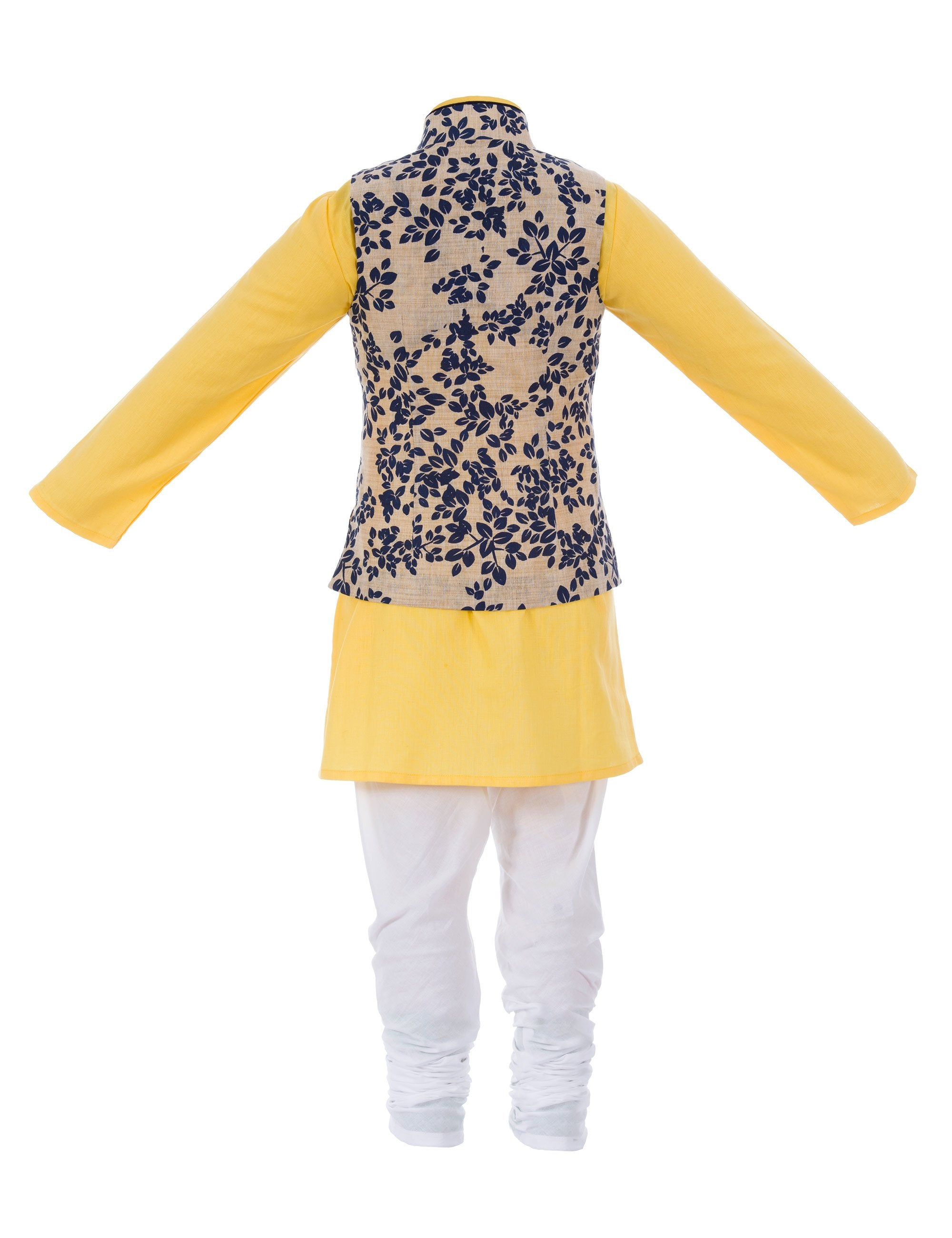 Khadi Kurta with Leaf Print Nehru Jacket in Yellow Colour for Boys