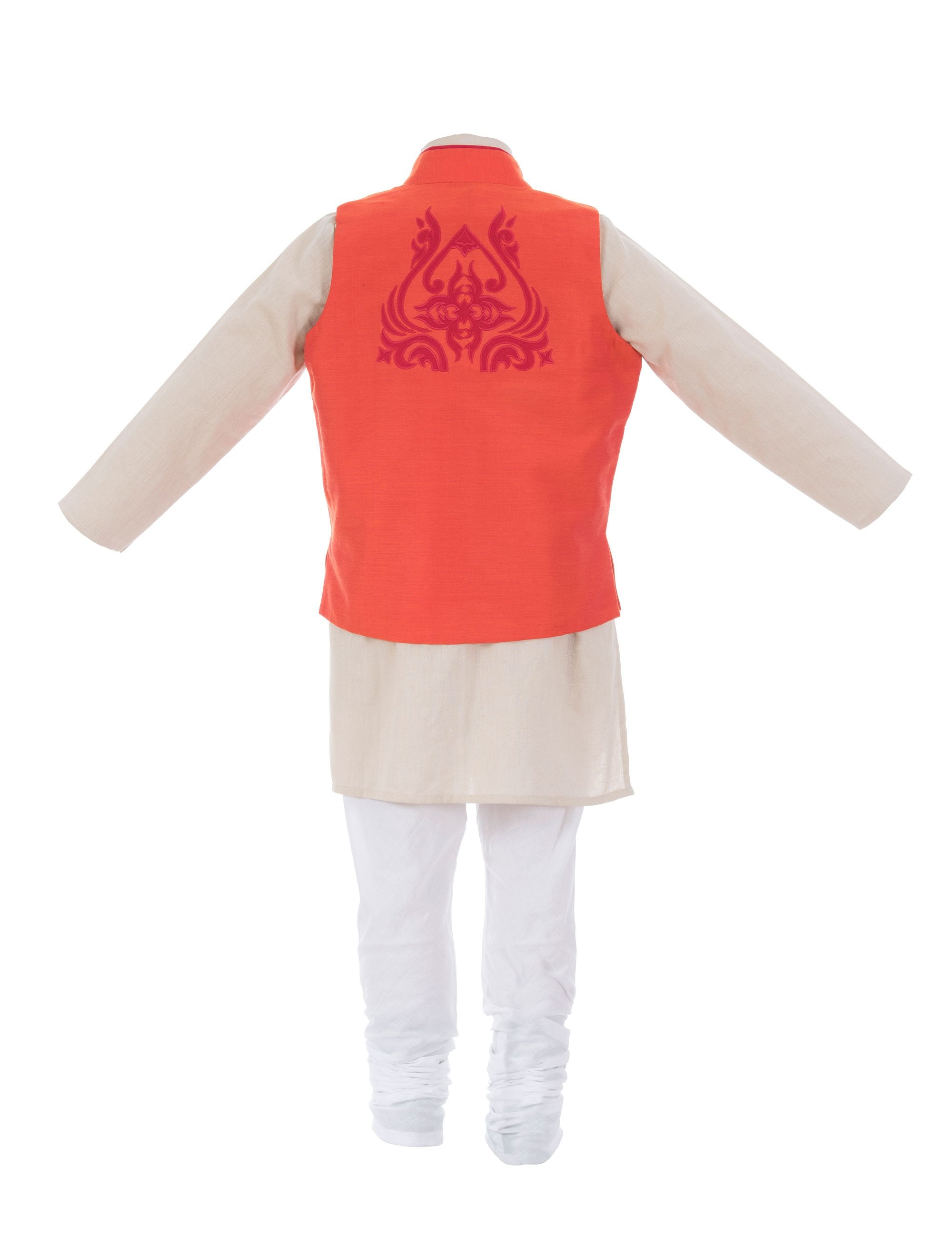 Applique Kurta Jacket in Red Colour for Boys