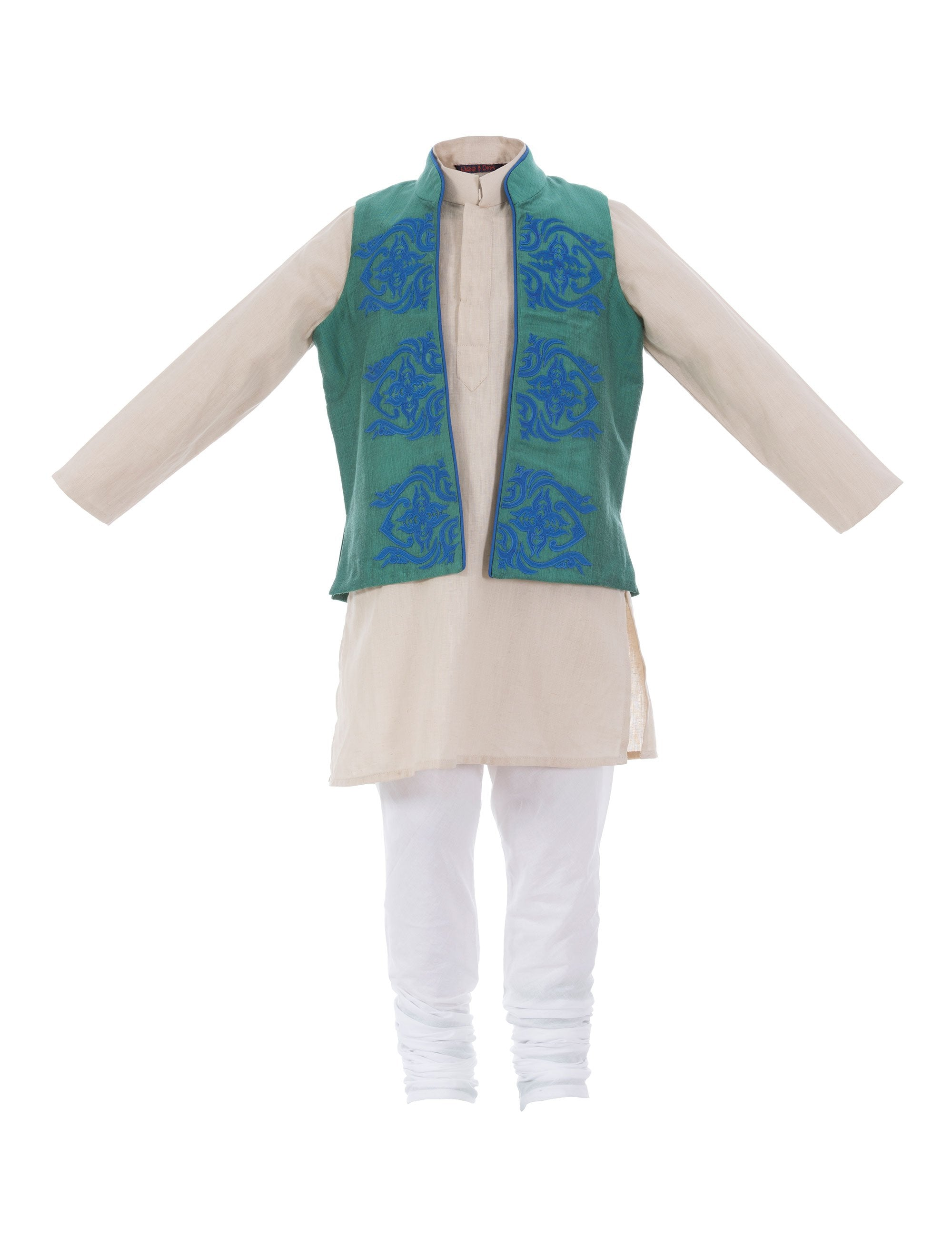 Applique Kurta Jacket in Blue Colour for Boys