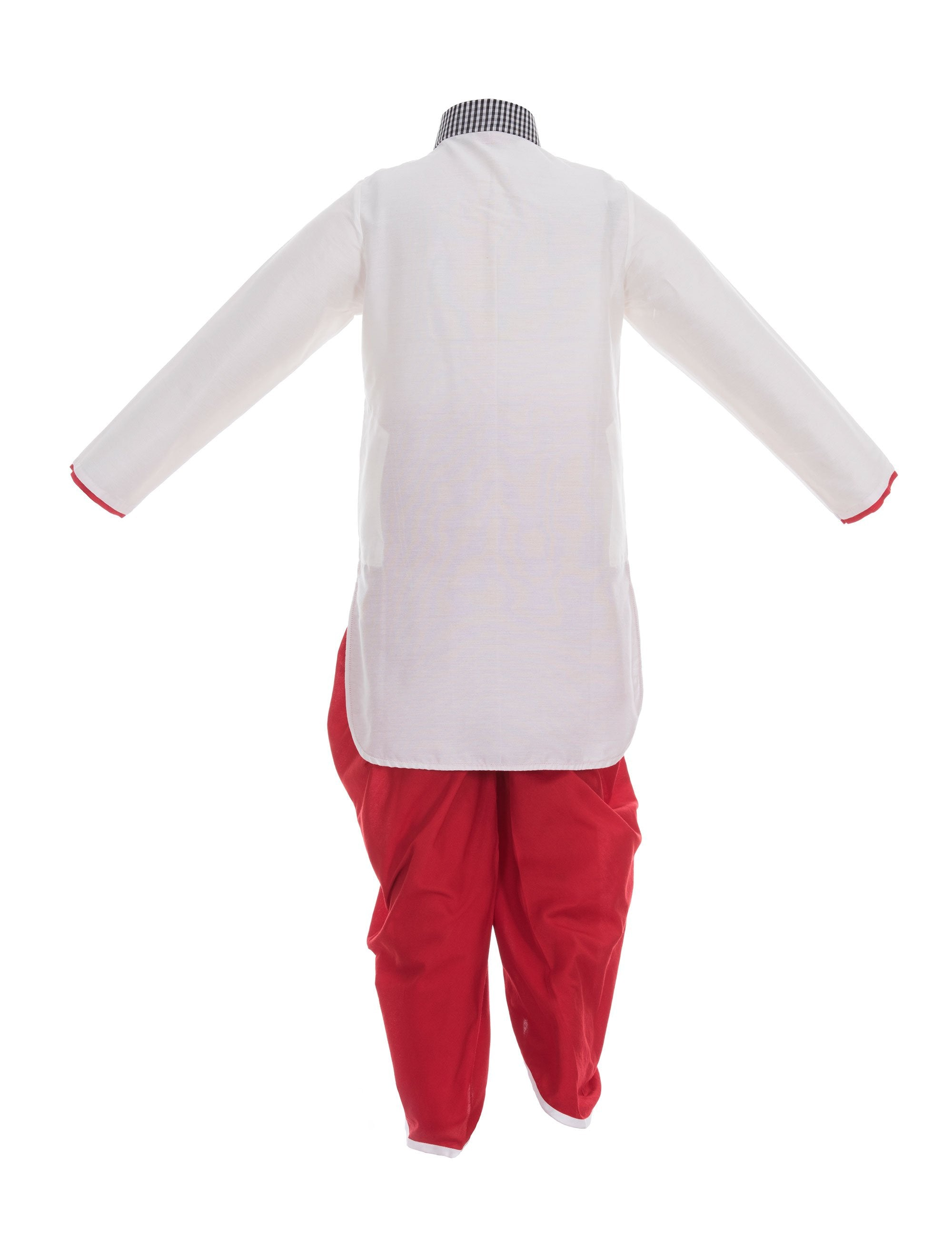Owl Kurta/Dhoti Pants in White and Red for Boys