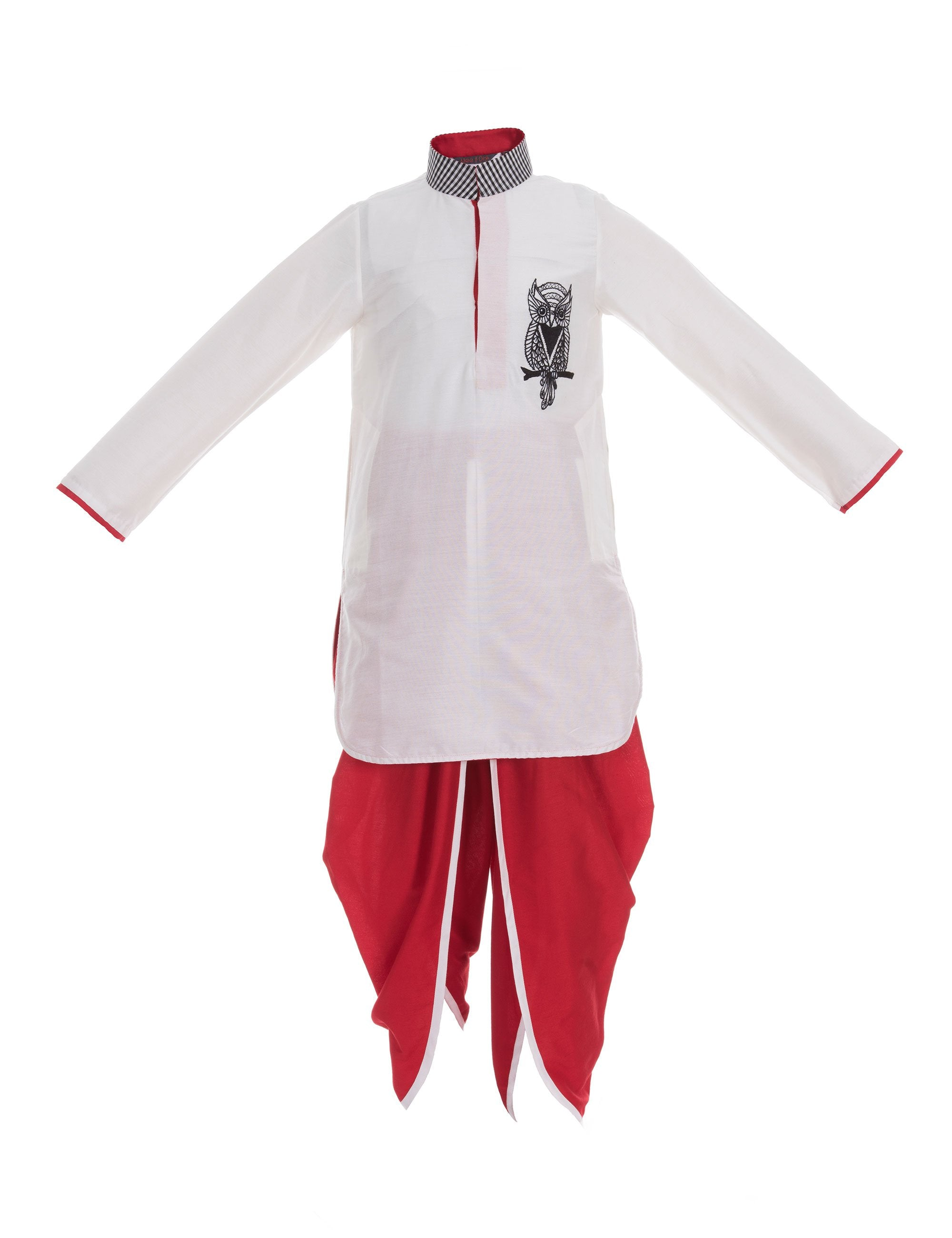 Owl Kurta/Dhoti Pants in White & Red for Boys