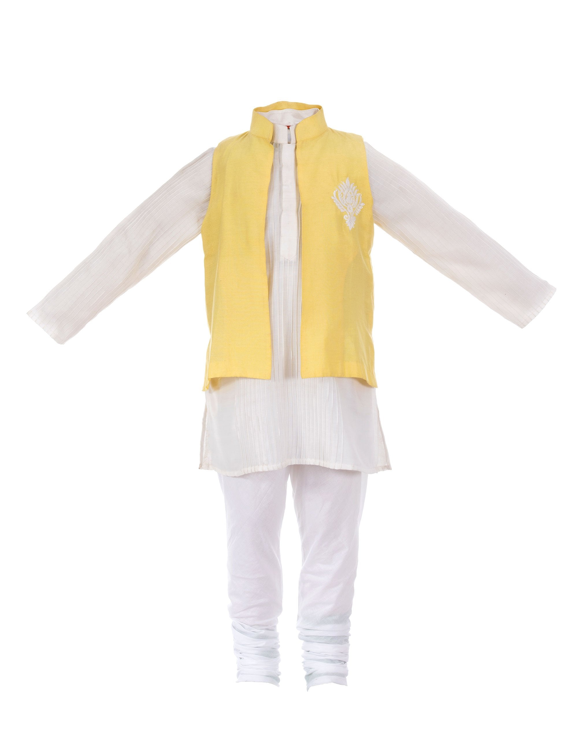 Jacket with Pintuck Kurta in Yellow for Boys