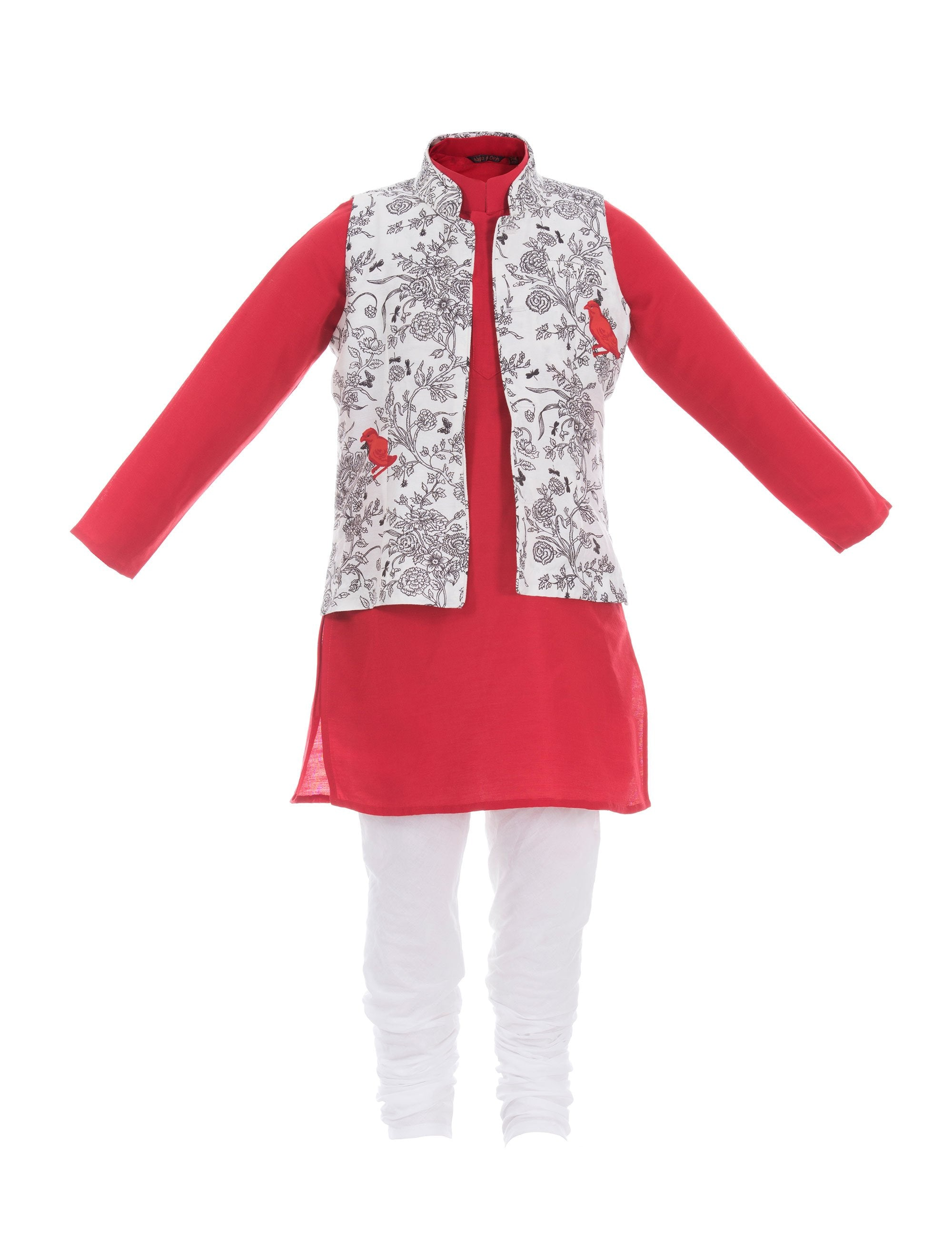 Boys Kurta with Printed Jacket in Red for Boys