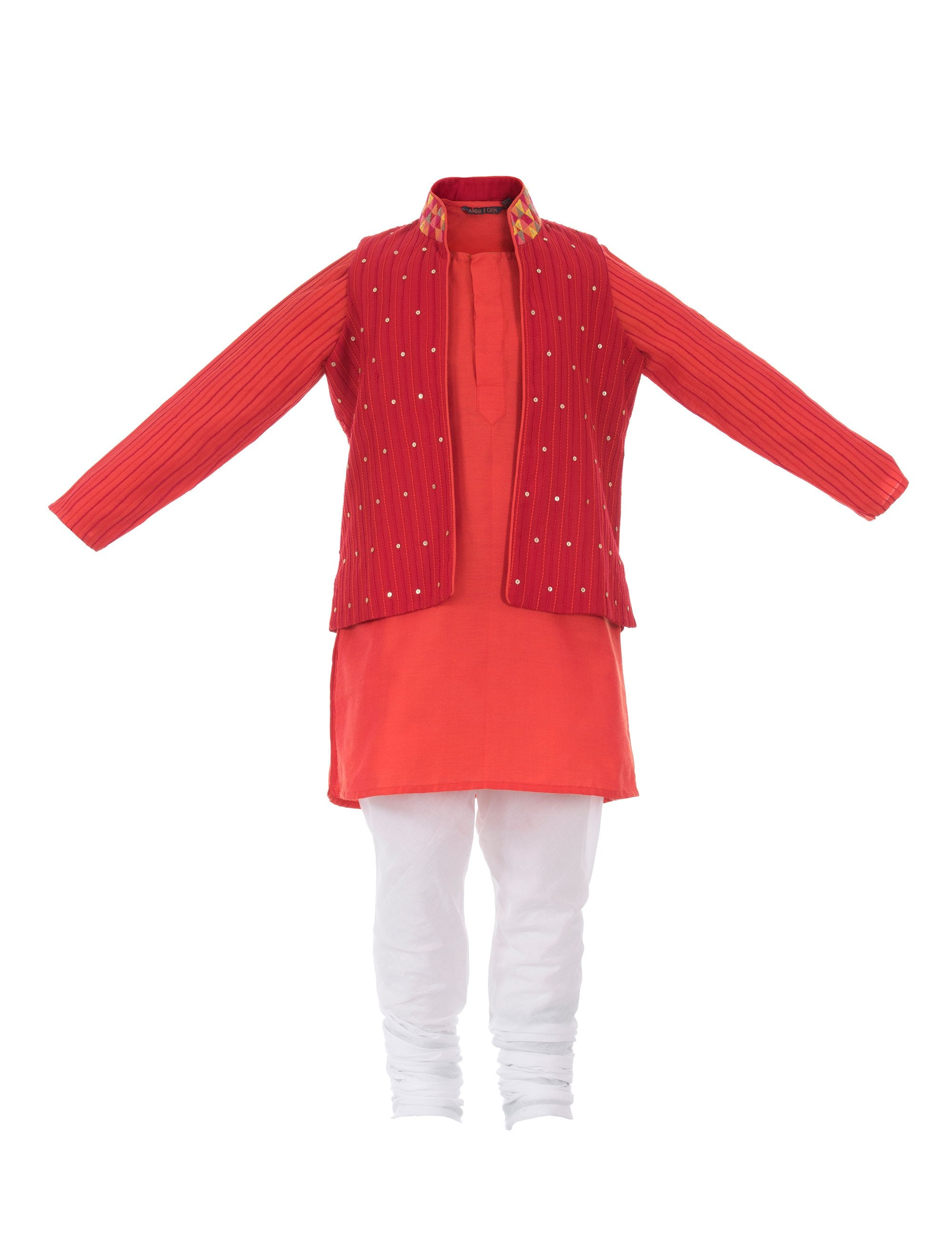 Orange Kurta with Anchor Thread Work Red Jacket for Boys