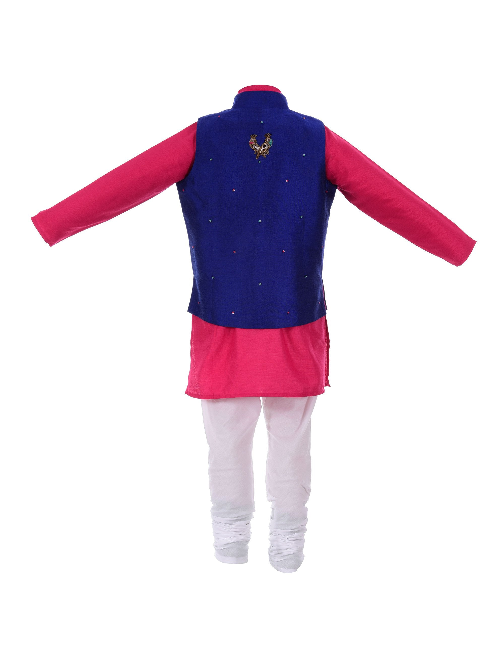 Kurta with Zardozi Tia Jacket in Blue for Boys